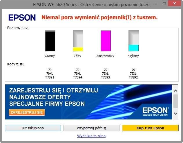 Epson WF-5620 - oprogramowanie monitorujące poziom tuszy.