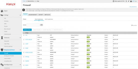 Zarządzanie regułami zapory sieciowej w panelu Webas firmy Kei.pl