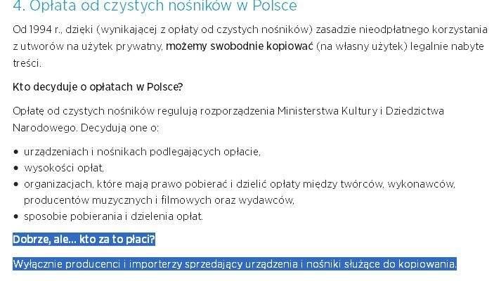 Opłata od czystych nośników w Polsce