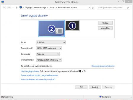 Jak obrócić ekran - system Windows 8.1. Podobne ustawienia oferuje system Windows 7.