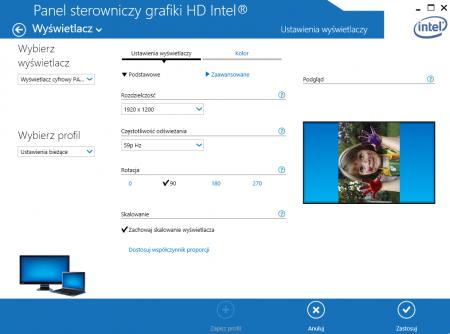 """Sterowniki kart graficznych również oferują obracanie ekranu. Zrzut ekranowy przedstawia sterowniki Intel do zintegrowanych układów graficznych - funkcja """"Rotacja"""" odpowiada za zmianę orientacji ekranu."""