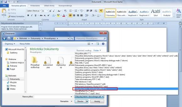 Edytor Word z pakietu Microsoft Office zapewnia funkcję odzyskiwania tekstu z plików w dowolnym formacie.