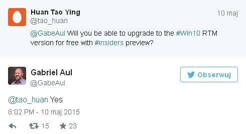 Windows 10 dostanie udostępniony Uczestnikom programu Windows Insider
