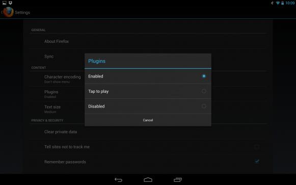 Flash w systemie Android JellyBean - ustawienia przeglądarki Firefox.