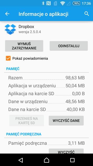 Na karcie każdej aplikacji w ustawieniach można ją usunąć, wyczyścić jej dane lub usunąć pamięćpodręczną