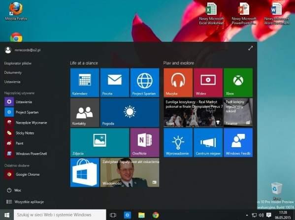 Windows 10 TP (foto: własne)