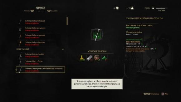 Geralt może zbierać schematy, które pozwolą wykonać u rzemieślnika przedmioty o świetnych parametrach