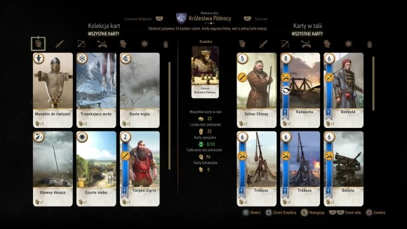 W dowolnym momencie gry można zmienić układ kart w talii do Gwinta