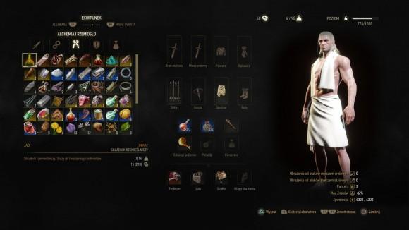 W ekwipunku Geralta można znaleźć dziesiątki różnych przedmiotów