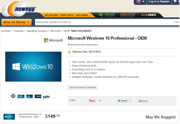 Windows 10 Professional - cena to 149,99 dolarów (foto: Newegg)