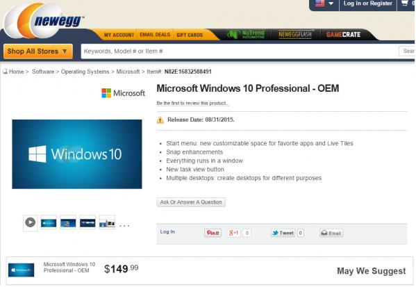 Windows 10 Professional - cena to 149,99 dolarów (foto: Newegg)