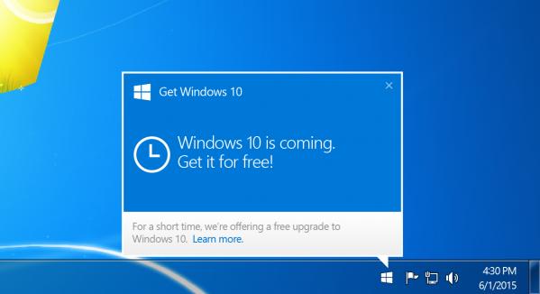 Windows 10 - ekran powiadomienia o możliwości rezerwacji
