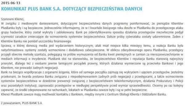 Oświadczenie Plus Banku