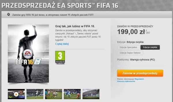 FIFA 16 PC w przedsprzedaży