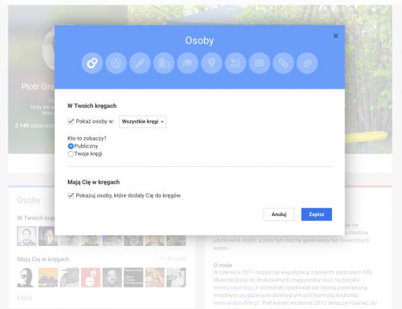 Google Plus: widoczność listy kontaktów