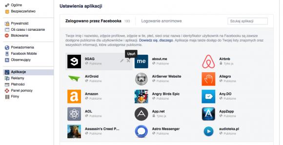 Facebook: uprawnienia aplikaci