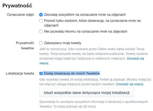 Twitter: dane o lokalizacji