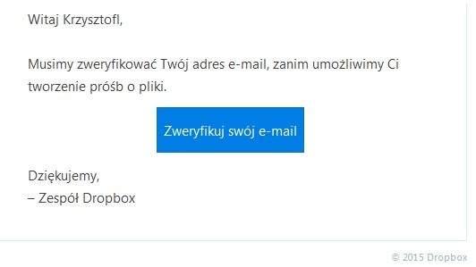Dropbox - weryfikacja adresu e-mail