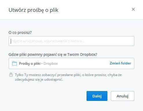 Dropbox - funkcja prośby o pliki