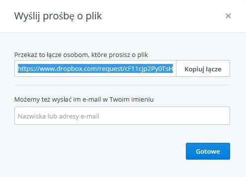 Dropbox - funkcja Prośby o plik (etap wysyłania łącza)