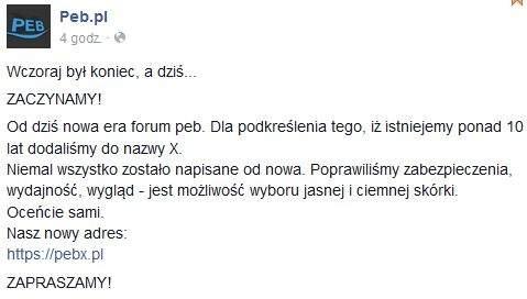 Peb.pl odrodził się w postaci pebx.pl