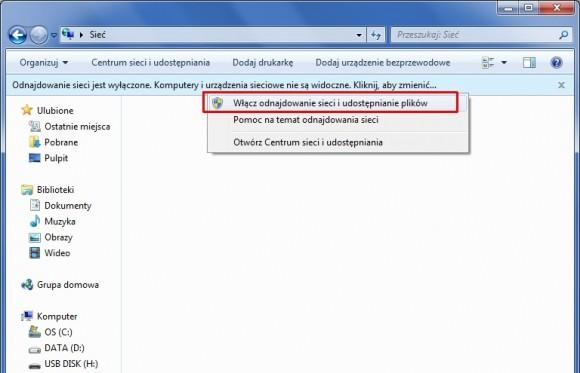 Aby uzyskiwać bezpośrednie połączenie Bluetooth z folderami udostępnionymi w innym komputerze, trzeba skonfigurować je jako sieć osobistą, wskazując to polecenie.