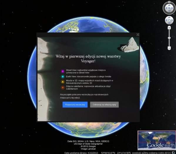 Voyager - nowa funkcja Google Earth