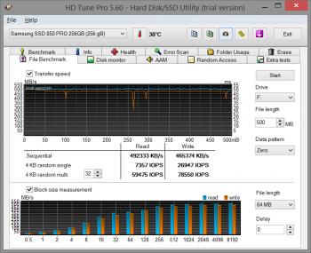 HD Tune Pro - test SSD o pojemności 240 - 256 GB