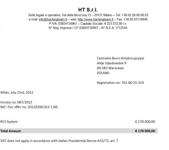 CBA współpracowało z firmą Hacking Team kupując od niej za 178 tys. euro system RCS