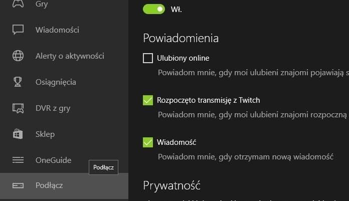 Menu aplikacji Xbox