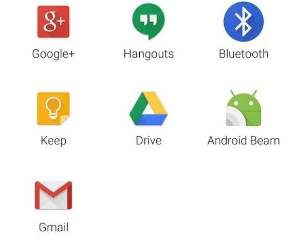 Udostępnianie aplikacji - ikony ułożono w siatkę, a nie na liście