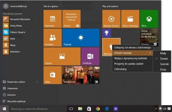 Windows 10 - menu Start