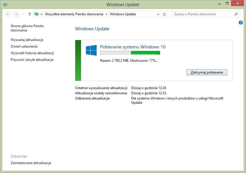 Pobieranie Windows 10 - usługa Windows Update