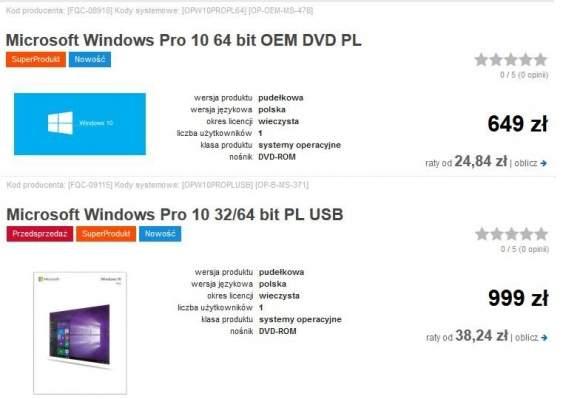 Windows 10 - porównanie cen wersji DVD i USB w sklepie Komputronik.pl (przy wersji USB źle opisany został nośnik).