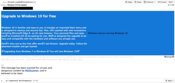 """Fałszywy e-mail od """"Microsoftu"""""""