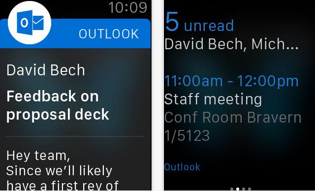 Outlook do iOS doczekał się wsparcia dla Apple Watcha