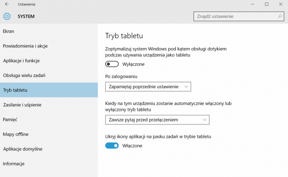 Windows 10 - tryb tabletu