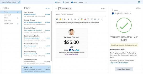 Outlook wzbogacony o obsługę m.in. PayPal i Ubera