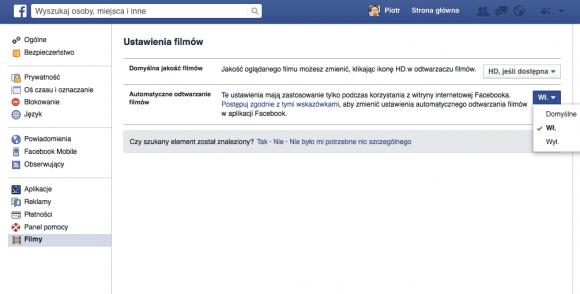 Wyłączanie automatycznego odtwarzania wideo - Facebook (przeglądarka)