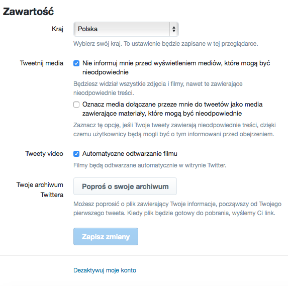 Wyłączanie automatycznego odtwarzania wideo - Twitter (przeglądarka)