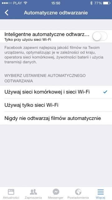 Wyłączanie automatycznego odtwarzania wideo - Facebook (iOS)
