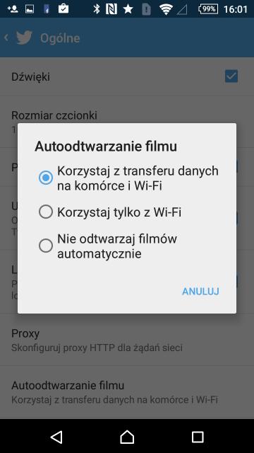Wyłączanie automatycznego odtwarzania wideo - Twitter (Android)