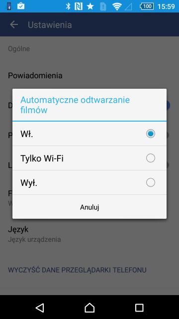 Wyłączanie automatycznego odtwarzania wideo - Facebook (Android)