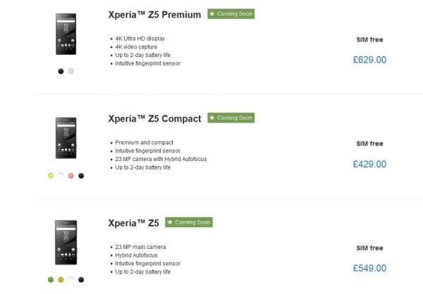 Sony Xperia Z5, Xperia Z5 Compact, Xperia Z5 Premium