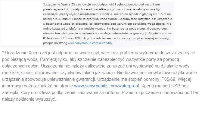 Xperia Z5, Xperia Z3 - wodoodporność