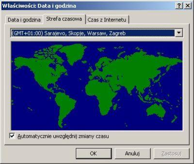Zatopiona Polska na karcie stref czasowych (system: Windows XP Tablet PC Edition)