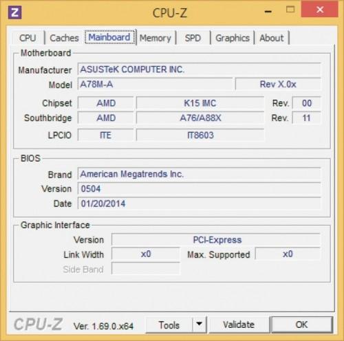 Oprogramowanie diagnostyczne (tu: bezpłatne CPU-Z) podaje w szczegółach model płyty głównej, a także datę wydania i numer wersji BIOS-u.