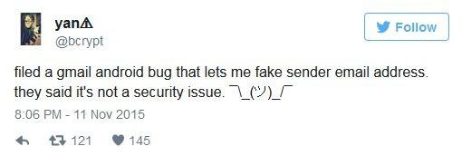 Gmail na Androida ma błąd, który pozwala na ukrywanie prawdziwego adresu nadawcy