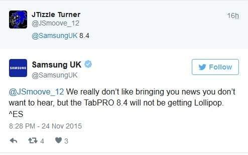 Galaxy Tab Pro 8.4 bez aktualizacji do Androida 5.0