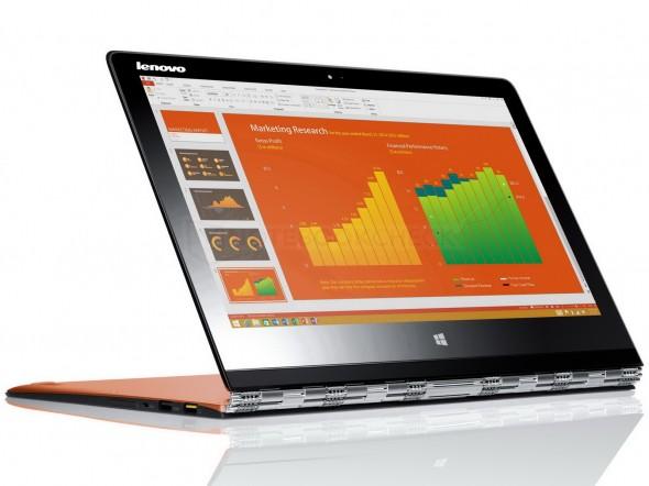 Lenovo Yoga 3 Pro to kwintesencja stylu i jakości. Jako jeden z nielicznych wyposażony jest w ekran pracujący w rozdzielczości 3200 x 1800 pikseli. Zaskakująca jest tez jego bardzo niska waga (1,2 kg).
